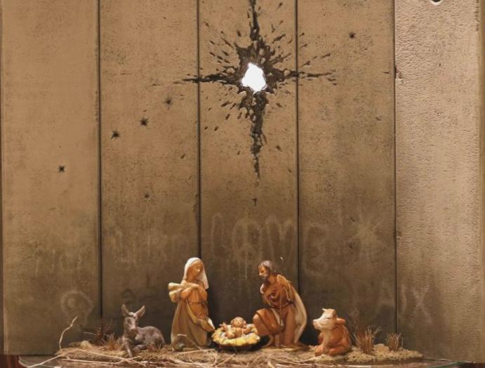Banksy: Mysterious artist's 'modified nativity scene' appears Bethlehem