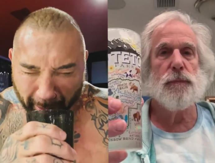 Celebrities Dave Bautista Henry Winkler mock Trump's one-handed parody videos