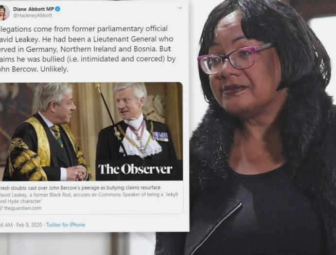 Diane Abbott criticised suggesting been Bercow bullying