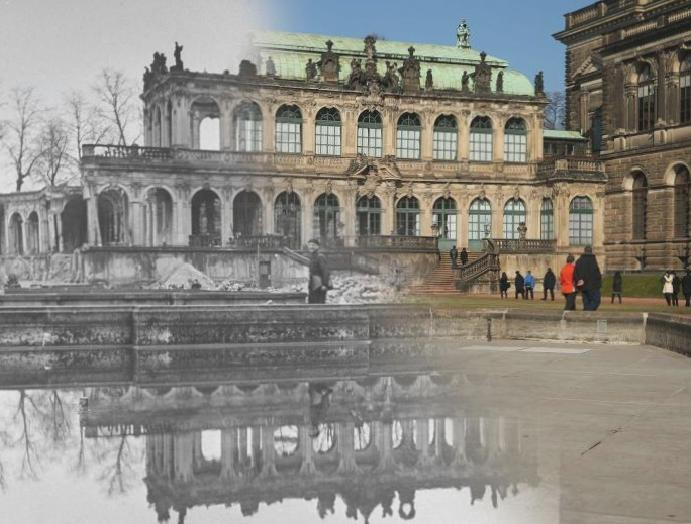 Dresden bombing: Composite images Second World War German compared