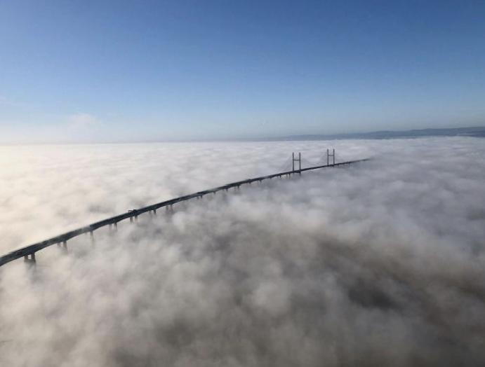 Remarkable photos 'surreal' shrouding Severn Bridge