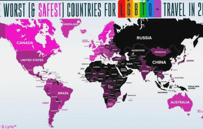 The countries LGBT+ travellers