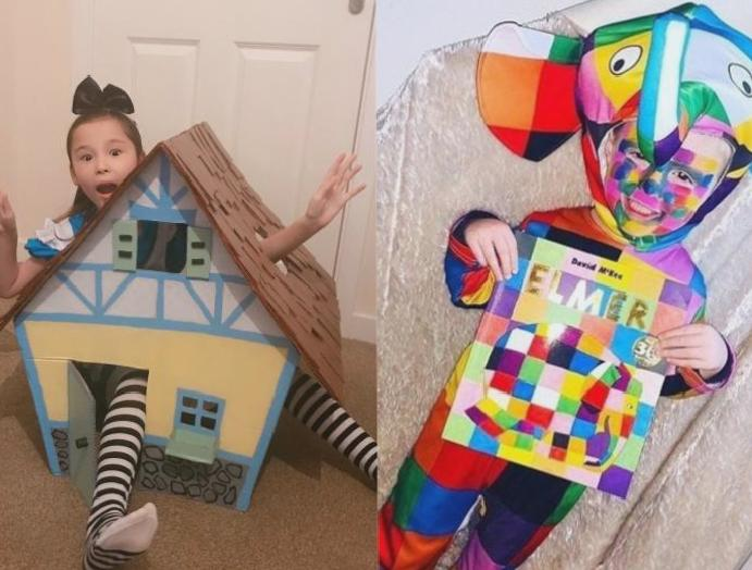 World Book Day: This year's costumes, Alice Wonderland Elmer Elephant