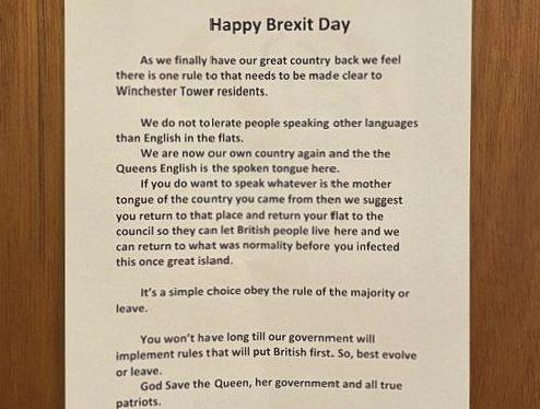 'Happy Brexit Day' telling residents English investigated racially motivated